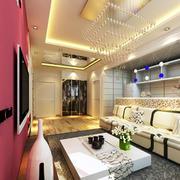 70平米时尚公寓客厅吊顶装修设计效果图