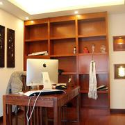 中式简约书房整体式内嵌书架装饰