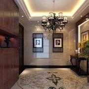 大户型别墅玄关地板拼花设计装修效果图
