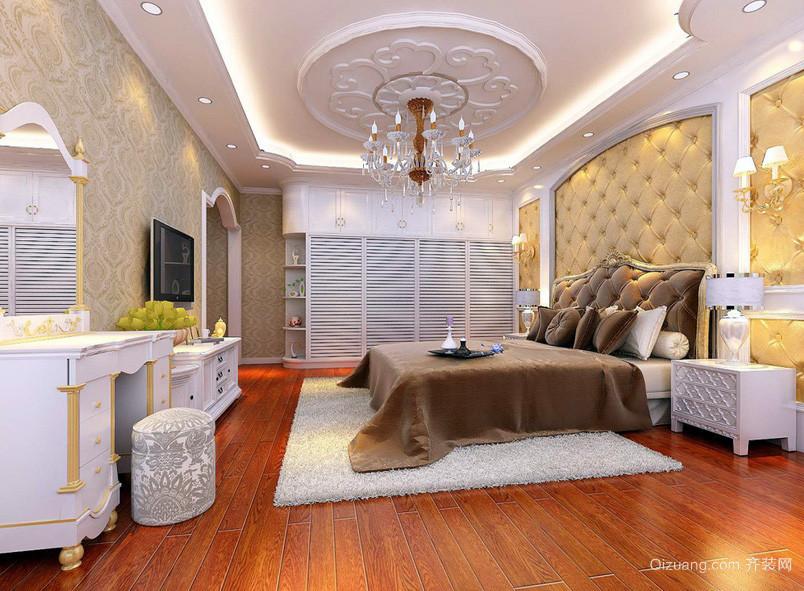 优雅欧式大别墅卧室吊顶装修设计效果图