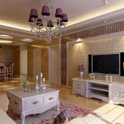 简欧风格别墅客厅精致电视背景墙装饰