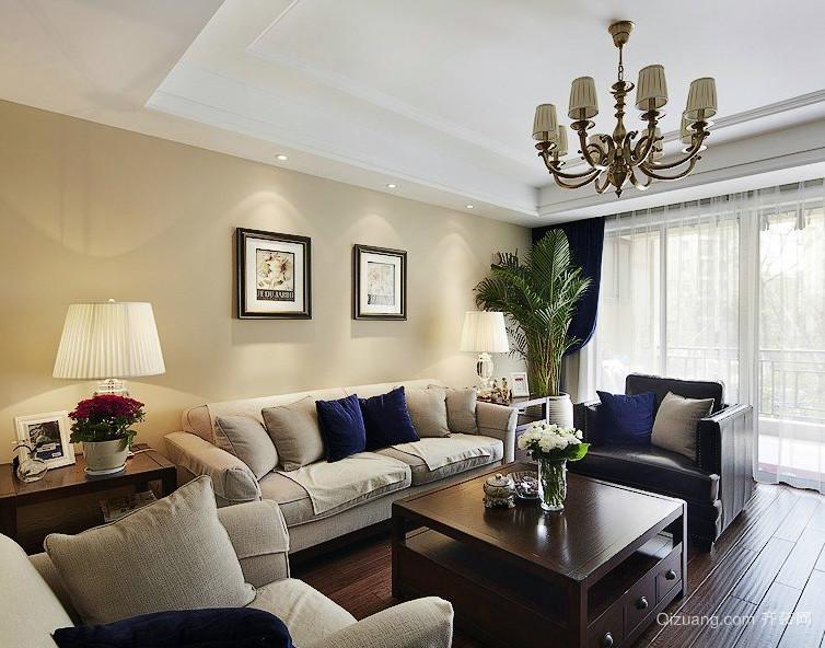 美式简约风格老年公寓客厅装修样板房