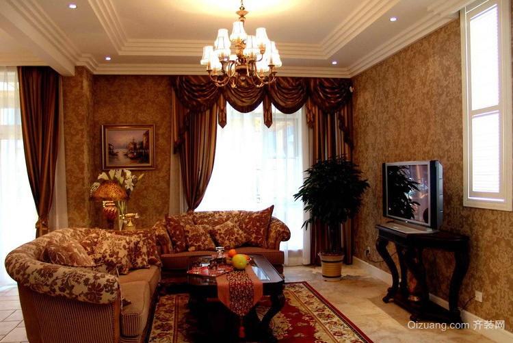 2016奢华大别墅美式风格客厅装修样板房高清图片
