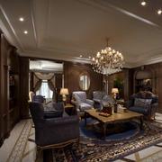 欧式深色系豪宅客厅桌椅装饰