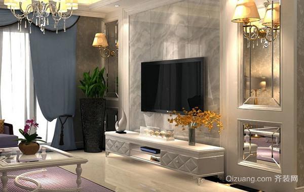 180平米简欧风格客厅电视背景墙装饰图