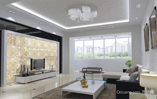 128平米实用型艺术玻璃背景墙效果图