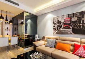 2016单身公寓艺术型客厅现代装饰画效果图