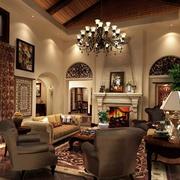 2016美式风格样板房客厅装修效果图