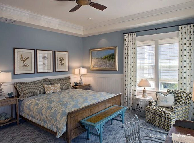 2016美式风格样板房卧室装修效果图