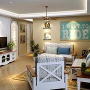 欧式浅蓝色纯色沙发背景墙