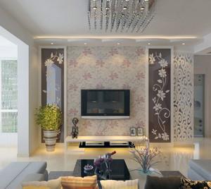 2016欧式风格大户型客厅电视机背景墙装修效果图