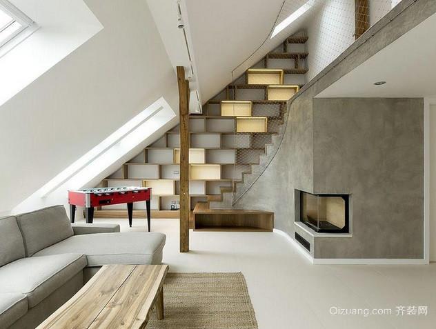 现代简约风格斜顶阁楼客厅装修效果图