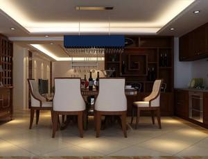138平米中式简约风格复式楼酒柜装修效果图