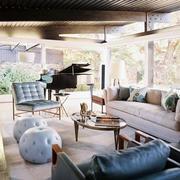 美式浅色客厅沙发装饰
