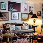 欧式风格深色系沙发背景墙装饰