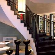 大型复式楼客厅旋转楼梯装饰