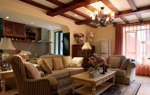 美式别墅客厅吊顶装饰