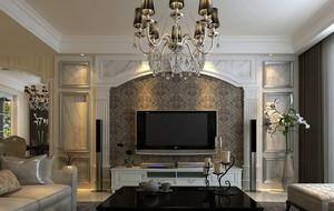 大型别墅客厅简欧风格电视背景墙装修效果图