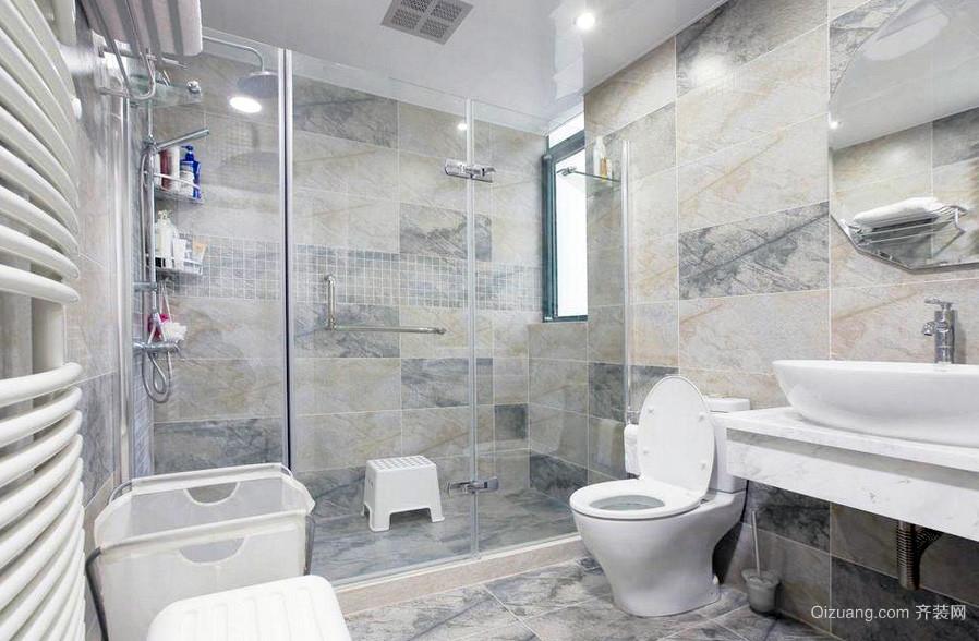 现代都市卫生间瓷砖设计装修效果图
