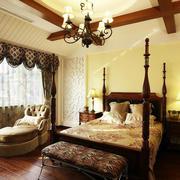 卧室暖色系简约卧室飘窗装饰