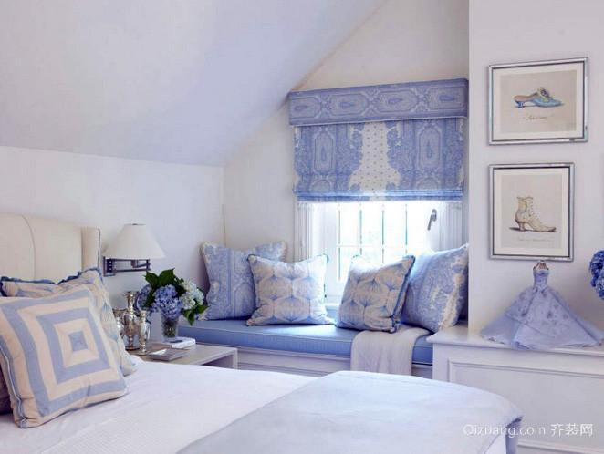 欧式风格小型阁楼浅紫色卧室装修效果图