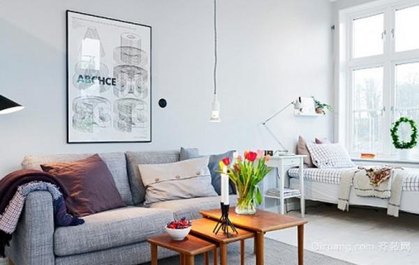 90平米清新北欧风格客厅装修效果图