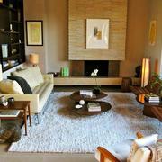 美式简约风格客厅地毯装饰