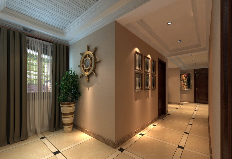 温馨三室两厅两卫过道吊顶装修效果图