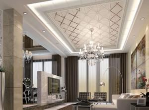 120平米大型欧式客厅密集式吊顶装修效果图