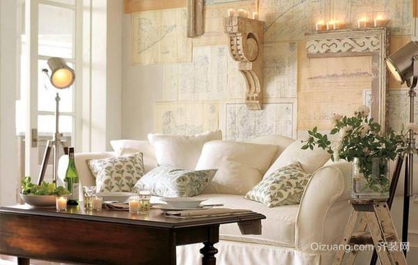 140平米欧式田园风格客厅沙发背景墙装修效果图