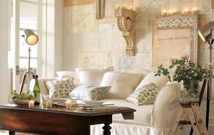 欧式浅色系沙发背景墙装饰