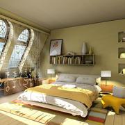 现代简约风格暖色系阁楼卧室装修效果图