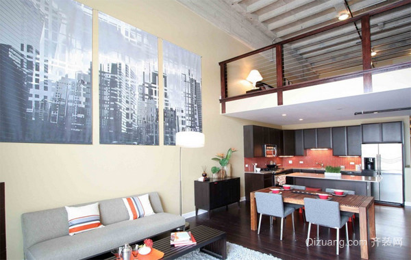 120平米暖色调loft装修效果图