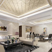欧式风格客厅密集吊顶装饰