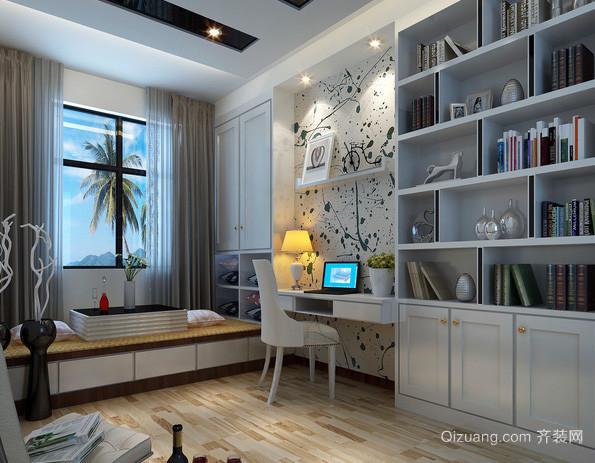 两室一厅现代简约风格书房榻榻米装修效果图