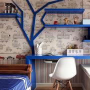 蓝色清新风格书房置物架装饰