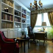 别墅欧式风格书房整体书柜家具装修效果图