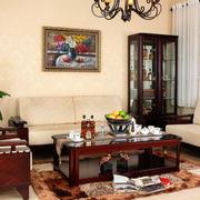 新中式风格100平米客厅实木家具图片