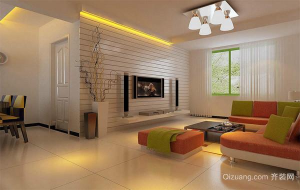 三居室传统型客厅装修效果图