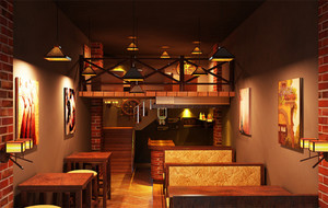 暖色调酒吧装修图片