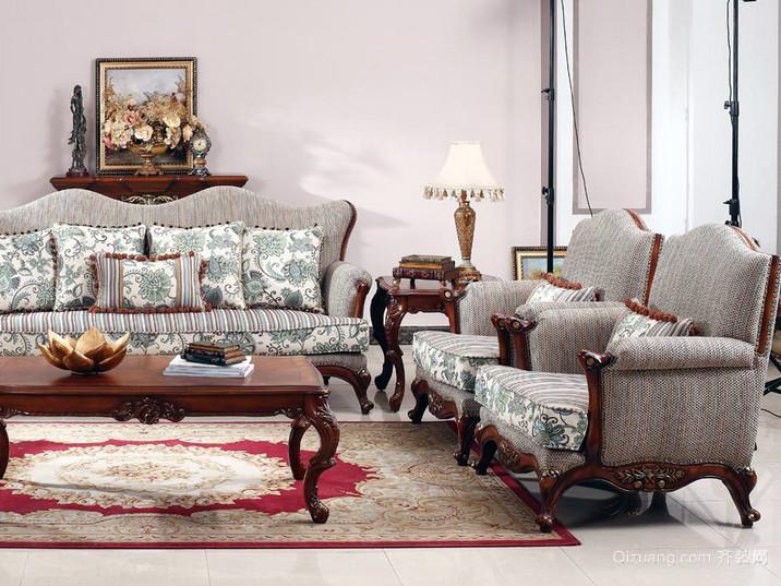 跃层柔软欧式布艺沙发效果图片