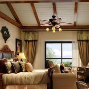 卧室原木简约吊顶装饰