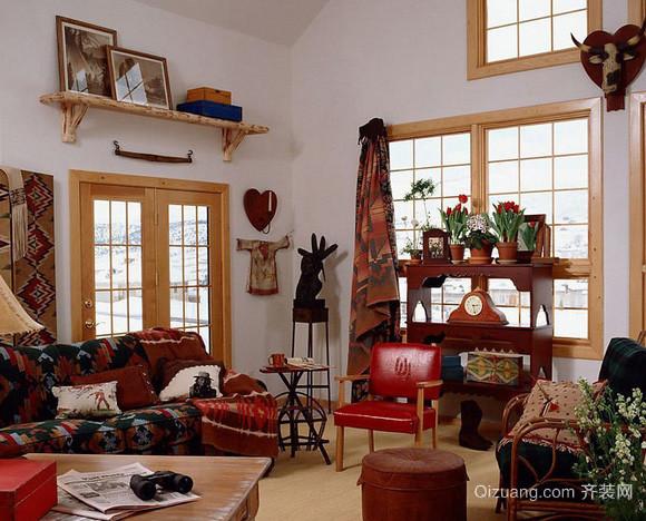 140平米美式乡村风格阁楼客厅装修效果图