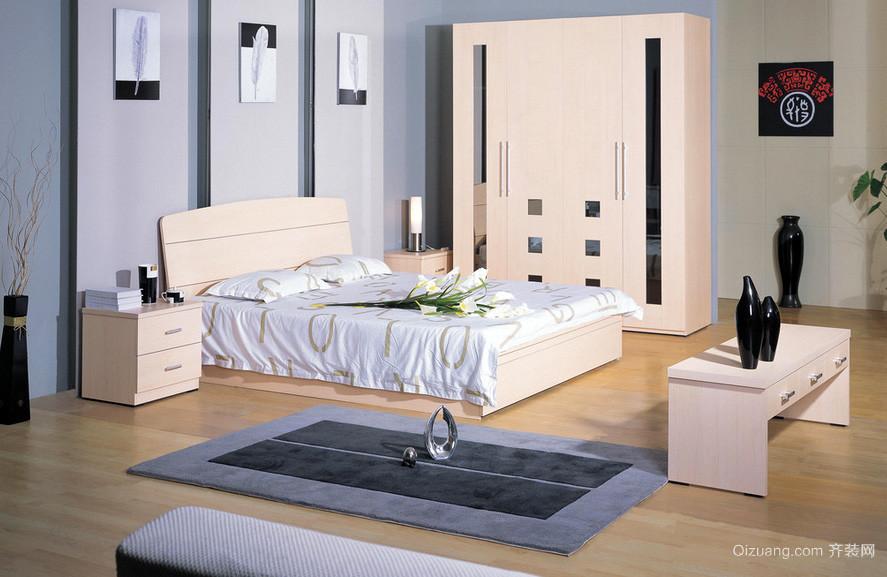 韩式浅色调24平米卧室实木家具装修图片