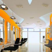 70平米都市时尚亮色系理发店装修效果图