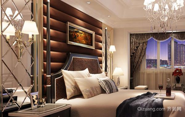 复式楼欧式风格卧室软包背景墙装饰效果图