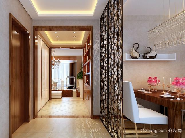 新中式简约风格客厅原木玄关装修效果图