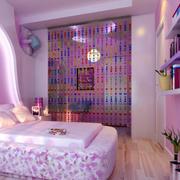 卧室粉色系帘幔隔断装饰
