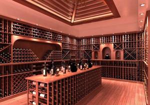 时尚风格别墅酒窖设计效果图