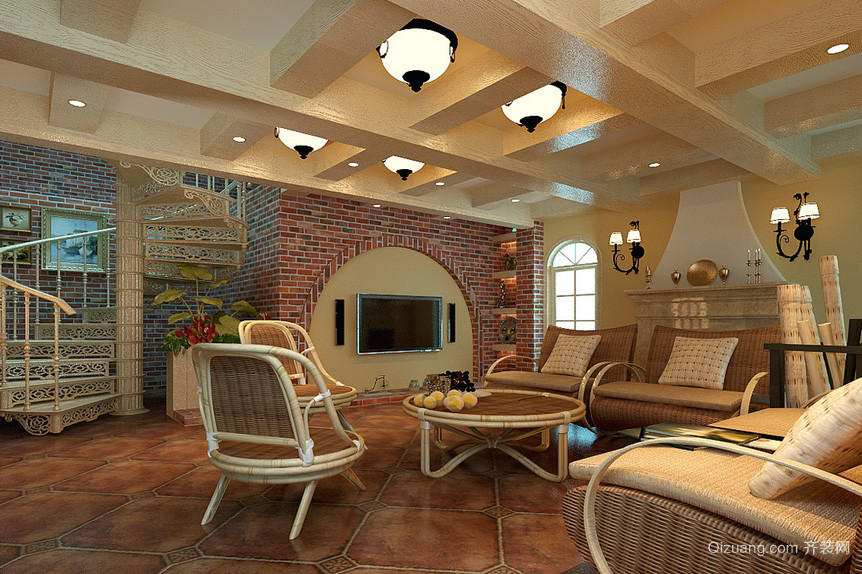 田园风格小复式楼客厅仿古砖地板贴图